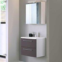 Spiegelschrank und Waschtisch in Dunkelgrau und