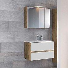 Spiegelschrank und Waschtisch in Weiß und
