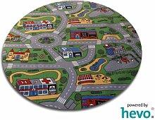 Spiel Spass HEVO ® Strassen Kinderteppich | Spielteppich 200 cm Ø Rund