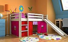 Spielbett hochbett kinderbett bett + rutsche,vorchang und matratze weiss ,kiefer (Geweisst)