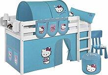 Spielbett JELLE Hello Kitty Türkis - TÜV & GS geprüft - weiß - Hochbett mit Vorhang und Lattenrost - LILOKIDS