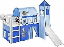 Spielbett JELLE Pirat Blau - Hochbett LILOKIDS - weiß - mit Turm, Rutsche und Vorhang