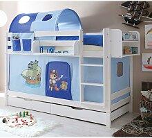 Spielbett Pirat in Weiß und Blau Kiefer