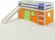 Spielbett Rutschbett Hochbett BENNY, mit Rutsche in Kiefer massiv weiß, Vorhang in orange/grün, Liegefläche 90 x 200cm