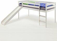 Spielbett Rutschbett Hochbett Bett mit Rutsche BENNY für Kinder Kiefer massiv in weiss lackiert 90 x 200 cm (B x L)