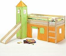 Spielbett Rutschbett Hochbett mit Rutsche BENNY, Kiefer massiv, natur Turm+Vorhang in orange/grün 90 x 200 cm (B x L)