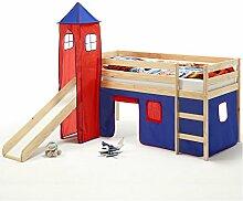Spielbett Rutschbett Hochbett mit Rutsche BENNY, Kiefer massiv, natur Turm+Vorhang in blau/rot 90 x 200 cm (B x L)