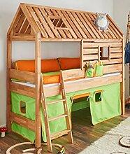 Spielbett Tom´s Hütte 20585 Hochbett Kinderbett Stoffset Grün/Orange