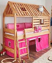 Spielbett Tom´s Hütte 20586 Hochbett Kinderbett Stoffset Pink/Rosa