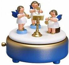 Spieldose blau/weiß/gold m. 3 Engel bunt blaue Fl.