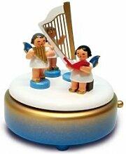 Spieldose blau / weiß / gold mit 3 Engel und Harfe