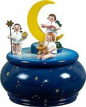Spieldose Engeltrio mit Mond blau mit Sternen