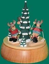 Spieldose mit Elche 24 cm Spieluhr Erzgebirge NEU