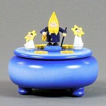 Spieldose mit Mond und Sterne 18-stimmiges Spielwerk - Dregeno Erzgebirgische Holzkunst - Artikel 086/103/1