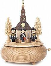 Spieldose mit Seiffener Kirche und Kurrende 18-stimmiges Spielwerk - Dregeno Erzgebirgische Holzkunst - Artikel 086/244