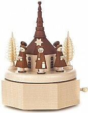 Spieldose mit Seiffener Kirche und Kurrende natur