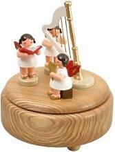 Spieldose natur mit 3 Engel und Harfe bun