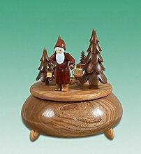 Spieldose Weihnachtsmann mit Schlitten natur
