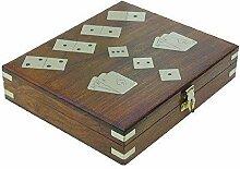 Spiele Box mit Domino, Karten und Würfel Spiel,
