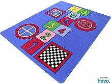 Spiele Mix HEVO® Kinderteppich Spielteppich blau 133x175 cm