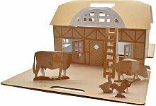 Spielhaus & Tiere vom Bauernhof aus Karton für