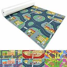 Spielmatte für Kinder mit Straßen und Häuser | schadstofffrei gemäß REACH | abwaschbar | rutschfester Kinderspielteppich | zahlreiche Größen | Feuerwehr Blau-Grau | 140x600 cm