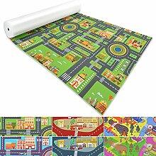 Spielmatte für Kinder mit Straßen und Häuser | schadstofffrei gemäß REACH | abwaschbar | rutschfester Kinderspielteppich | zahlreiche Größen | Stadt Grün | 140x400 cm