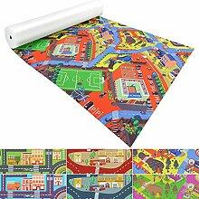 Spielmatte für Kinder mit Straßen und Häuser | schadstofffrei gemäß REACH | abwaschbar | rutschfester Kinderspielteppich | zahlreiche Größen | Campus Grün-Rot | 140x250 cm