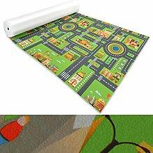 Spielmatte für Kinder mit Straßen und Häuser | schadstofffrei gemäß REACH | abwaschbar | rutschfester Kinderspielteppich | zahlreiche Größen | Stadt Grün | 140x200 cm
