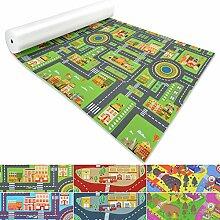 Spielmatte für Kinder mit Straßen und Häuser | schadstofffrei gemäß REACH | abwaschbar | rutschfester Kinderspielteppich | zahlreiche Größen | Stadt Grün | 140x120 cm