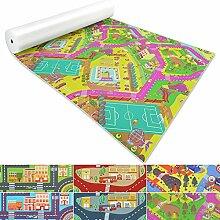 Spielmatte für Kinder mit Straßen und Häuser | schadstofffrei gemäß REACH | abwaschbar | rutschfester Kinderspielteppich | zahlreiche Größen | Campus Grün | 140x150 cm
