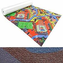 Spielmatte für Kinder mit Straßen und Häuser | schadstofffrei gemäß REACH | abwaschbar | rutschfester Kinderspielteppich | zahlreiche Größen | Campus Grün-Rot | 140x140 cm