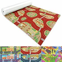 Spielmatte für Kinder mit Straßen und Häuser | schadstofffrei gemäß REACH | abwaschbar | rutschfester Kinderspielteppich | zahlreiche Größen | Feuerwehr Rot | 140x200 cm