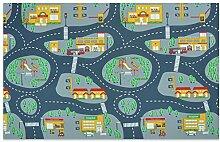 Spielmatte Straßen und Häuser - abwaschbar - Feuerwehr Blau-Grau Größe 140x200 cm
