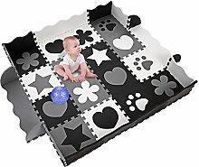 Spielmatte Ungiftig Krabbelmatte EVA-Schaum für innen und außen 40 Stk (schwarz/Weiß/grau)