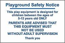 Spielplatz Sicherheitshinweis. Dieses Equipment ist für Kinder von 5–12Jahren nur. Eltern sind beraten, dass diese Geräte müssen nicht verwendet werden, ohne Aufsicht von Erwachsenen–3mm Aluminium Schild 400mm x 300mm