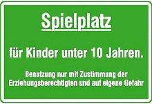 Spielplatzschild Spielplatz für Kinder unter 10