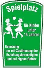 Spielplatzschild Spielplatz für Kinder unter 14 Jahren, Alu, Größe 55x75 cm
