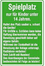 Spielplatzschild Spielplatz nur für Kinder unter 14 Jahren, Alu, 40x60 cm