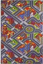 Spielteppich für Kinder Straßenteppich Kinderteppich, Größe:220x200 cm, Kettelung:blau