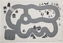 Spielteppich Kinderteppich Nordic Road grau