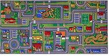 Spielteppich Playcity 100 x 165 cm Kinderteppich Teppich Spielstraße Straßenteppich