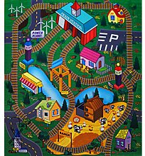 Spielteppich Straßenteppich 70 x 80 cm Ranch