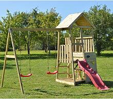 Spielturm 'Flamingo' holz / rot - Wenditoys