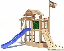 Spielturm Bazzy Boo von Isidor mit blauer Rutsche, Kletterrampe, XL- Kletternetz, Fernglas und Kletterpfosten auf 1,20 Meter Podesthöhe