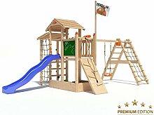 Spielturm Bazzy Boo von Isidor mit erweitertem Schaukelanbau, Doppelschaukel, blauer Rutsche, Kletterrampe, XL- Kletternetz, Fernglas und Kletterpfosten auf 1,20 Meter Podesthöhe