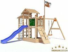 Spielturm Bazzy Boo von Isidor mit Schaukelanbau, Doppelschaukel, blauer Rutsche, Kletterrampe, XL- Kletternetz, Fernglas und Kletterpfosten auf 1,20 Meter Podesthöhe