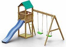Spielturm K10 inkl. Wellenrutsche, Doppelschaukel