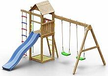 Spielturm K14 inkl. Wellenrutsche, Doppelschaukel,
