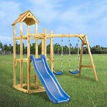 Spielturm mit Rutsche Schaukel Leiter 285 x 305 x
